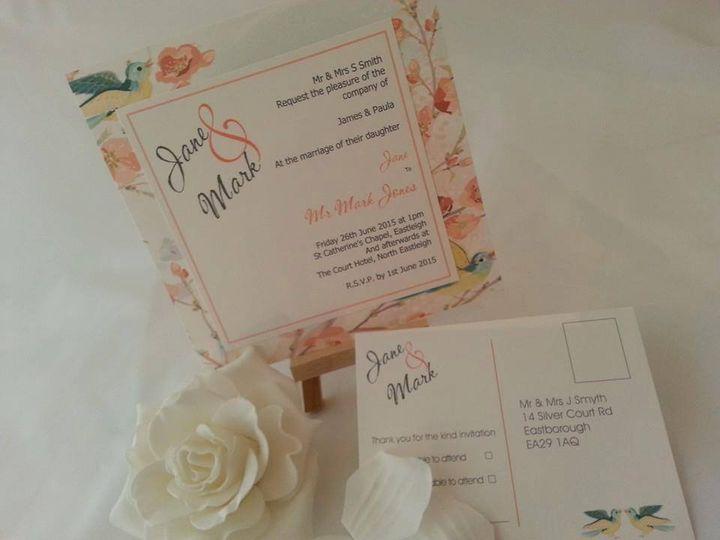 Bird and flower print invite