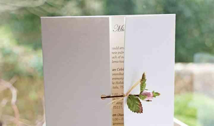 Paper rosebud invitation