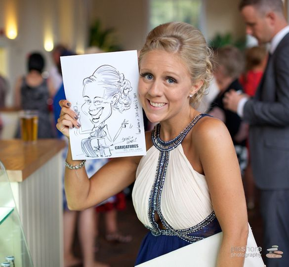 Caricaturing at a wedding