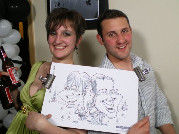 Couple Caricatured on the Spot