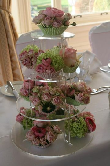 Tower of flower cupcakes