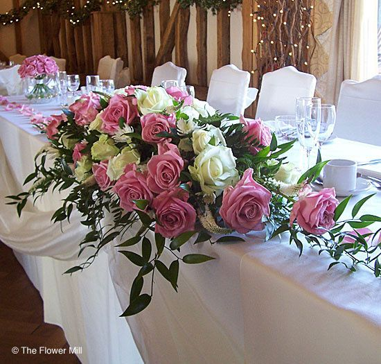 Top table pink and white rose centrepiece