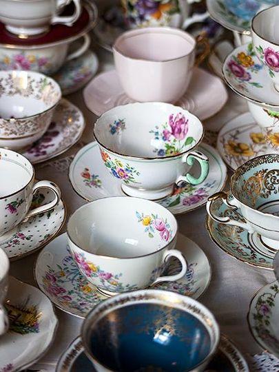 Vintage tea cups galore