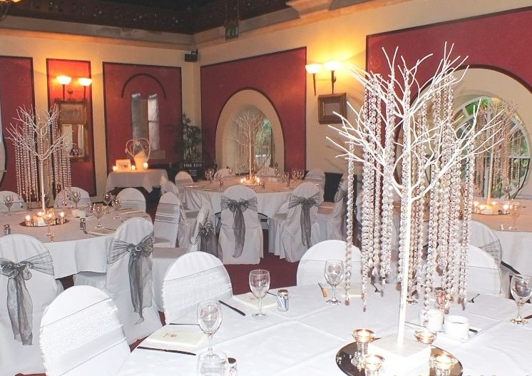 Chair covers and crystal trees