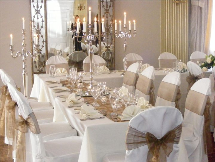 Chair covers and candelabra