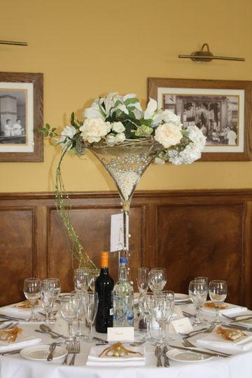 Martini vase centrepiece