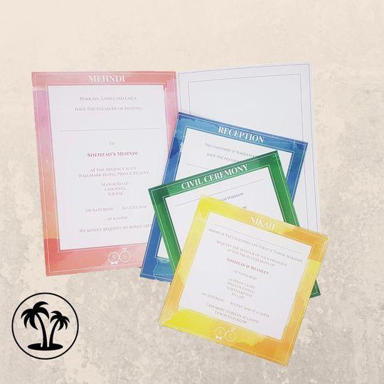 Watercolour invitation inserts