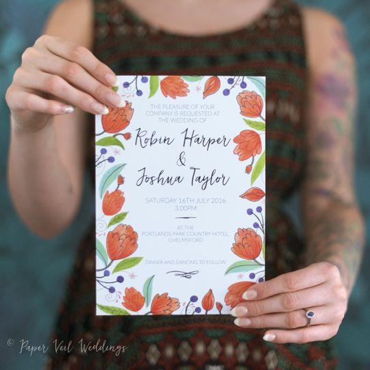 Orange blooms Invite