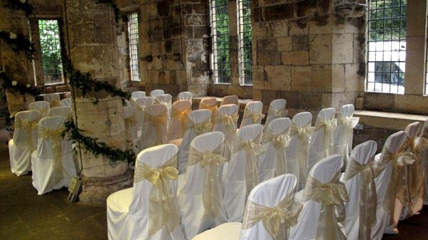 Sashes in a rustic romantic wedding