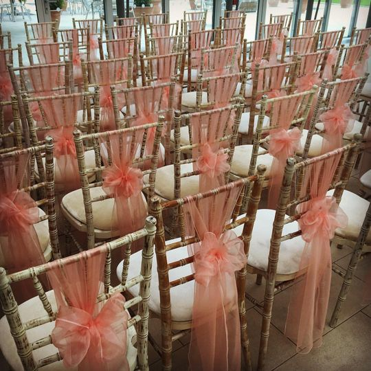 Peach organza sashes
