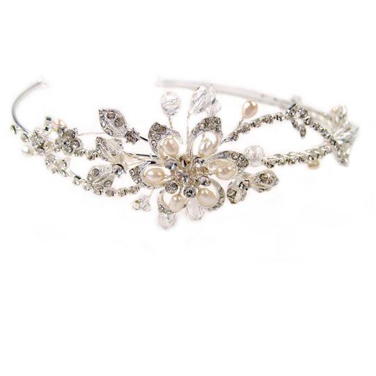 Diamante & Pearl Flower Tiara