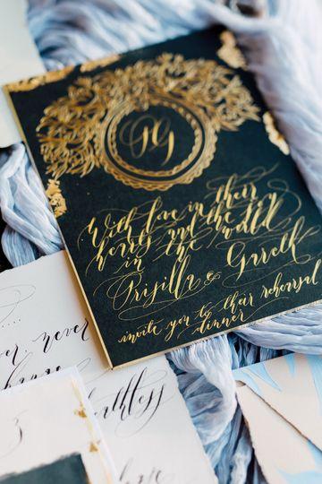 Luxury thick black invitation