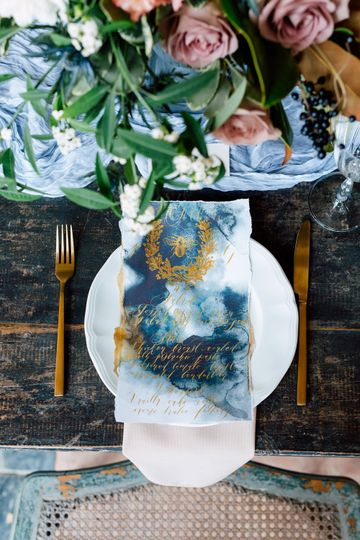 Watercolour and gold menu