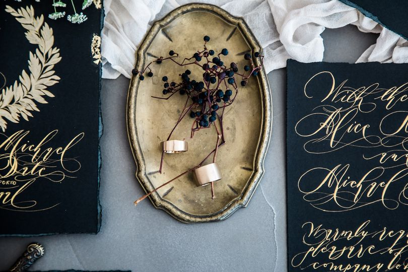 Gold calligraphy gold foil
