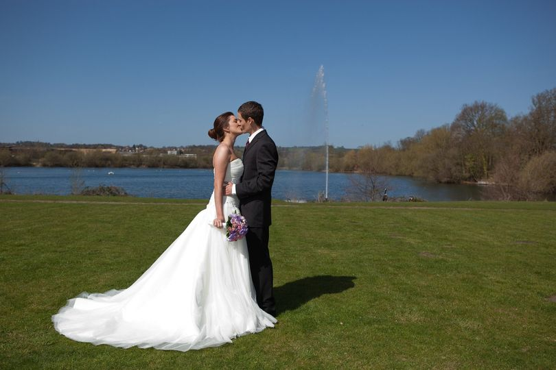 Couple on our lawns and lake