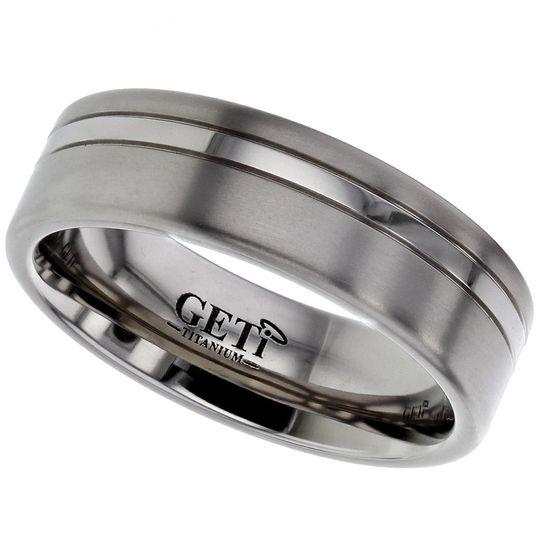 Polished Stripe Titanium ring