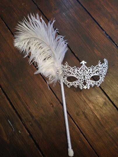 White Lace Stick Mask