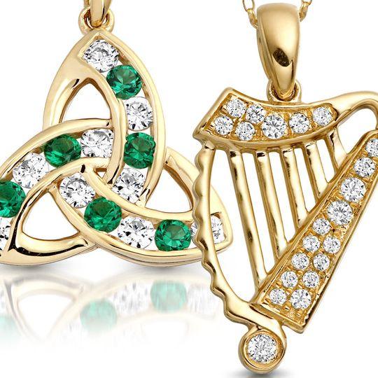9ct Gold CZ Celtic Pendants