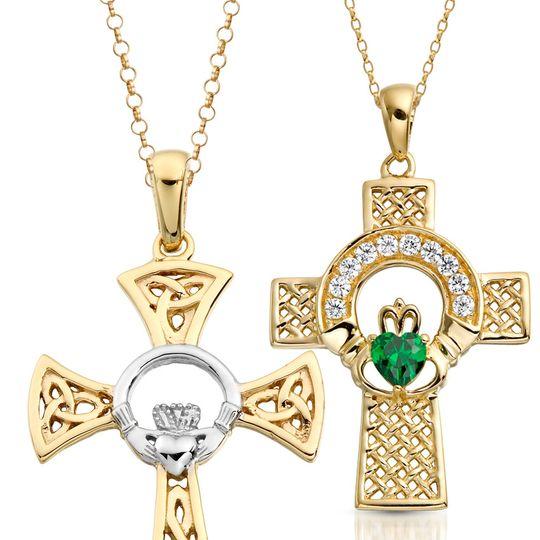 CZ Claddagh Crosses Irish Made