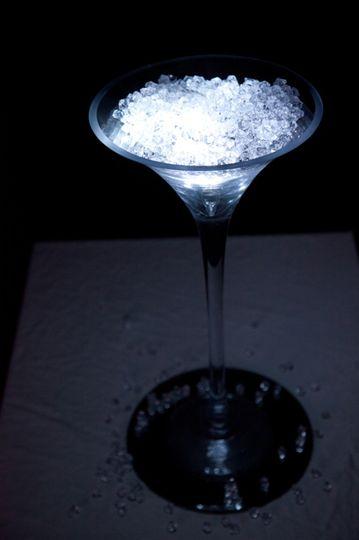 Martini glass centrepiece
