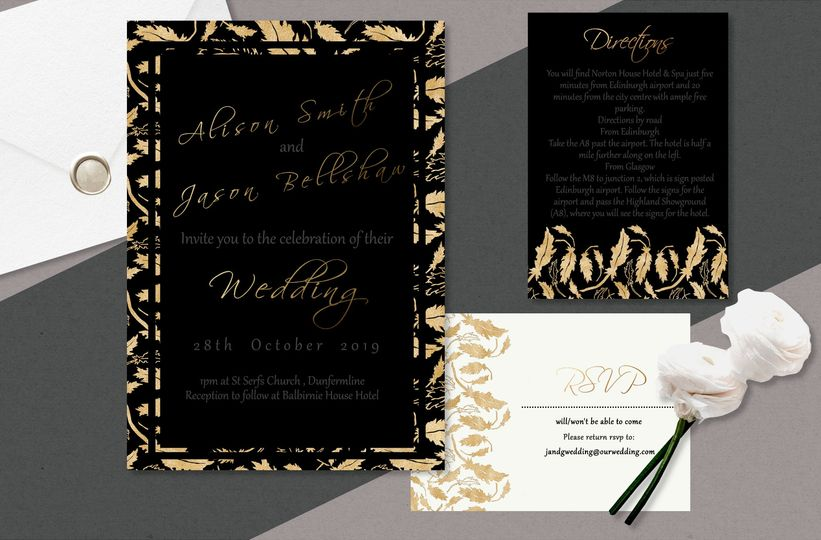 Damask Black and Gold