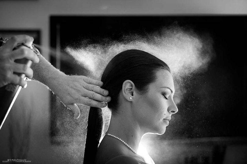 Bridesmaid with hair stylist