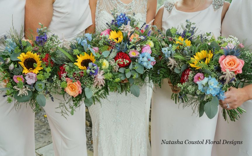 Rustic sunflower bouquets