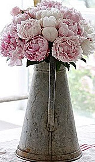 Metal jug table centre idea