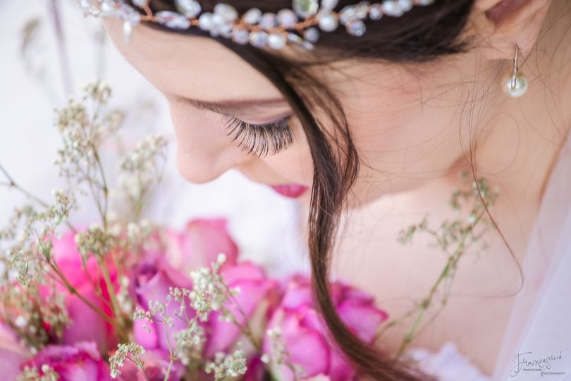 Close-up of bride.