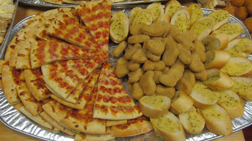 Pizza,nuggets and garlic bread