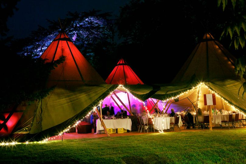 Giant tipi's at night