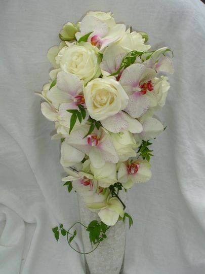 A shower bouquet of phalenopsis orchids and roses