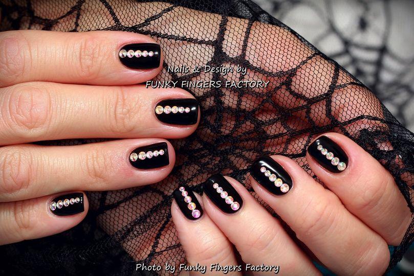 Gelish French Manicure With Swarovski Crystals