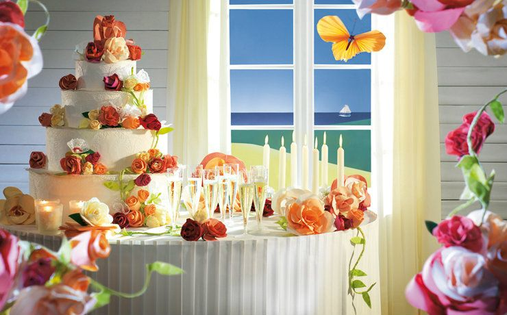 Cake table with tableskirt