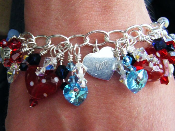 Swarovski crystal and handcrafted lampwork charm bracelet commission