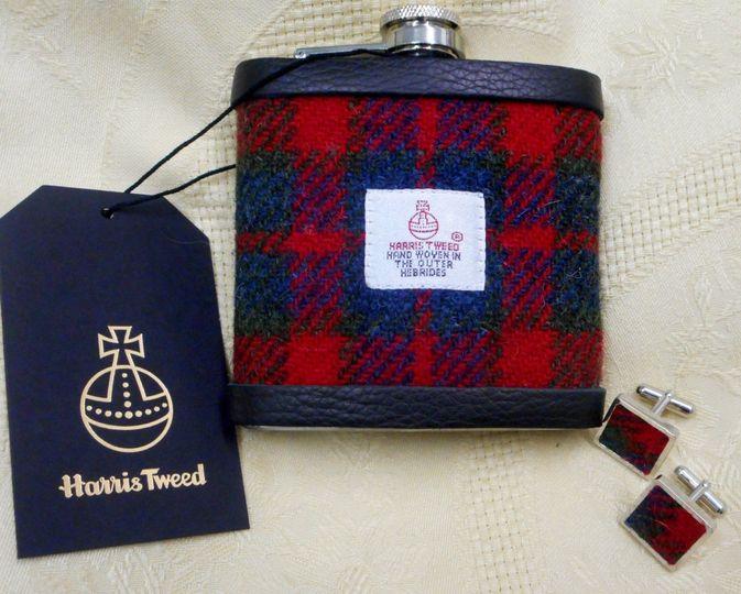 HarrisTweed flask cufflink set