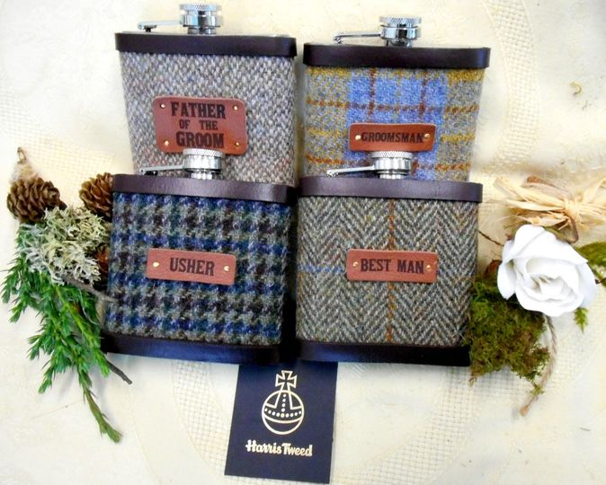 Rustic flasks set of 4