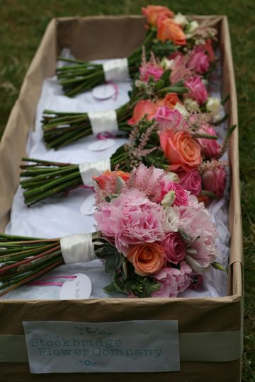 Coral and pink bridal bouquets