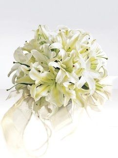Exotic white lily boquet