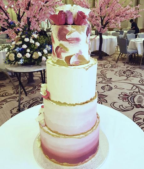 Painted & ombre wedding cake