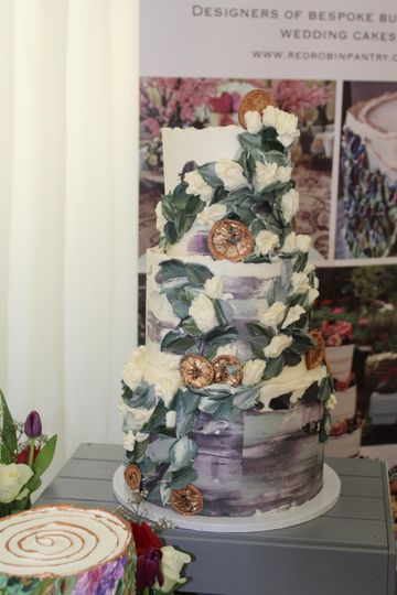Hand piped and painted cake