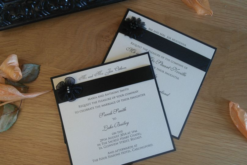 Classic Pearlised Black Invite