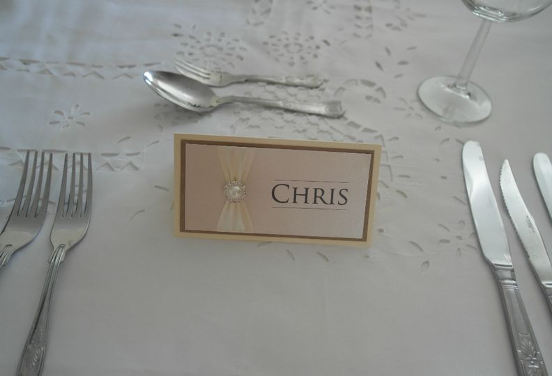 Pearlised Diamante place card