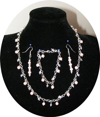 Pink pearl & crystal with silver chain set
