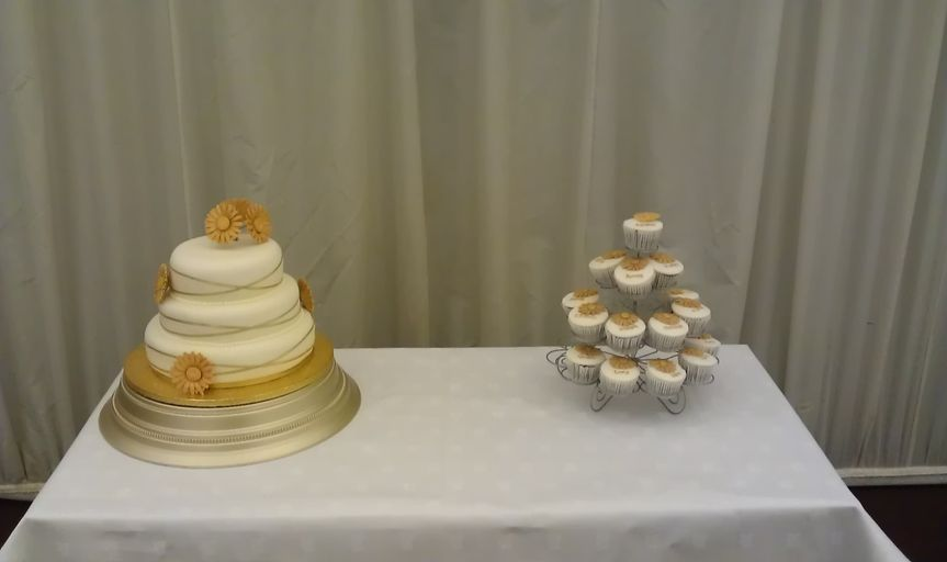Cake with matching individual cupcakes