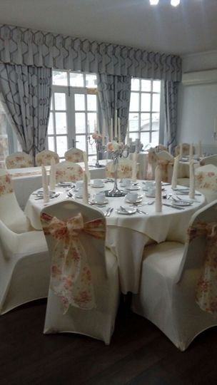 Chair covers, candelabras