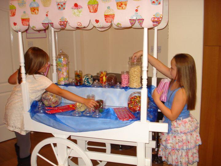 Guests enjoying candy cart