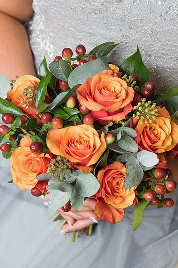 Autumnal Rose Brides Hand Tied