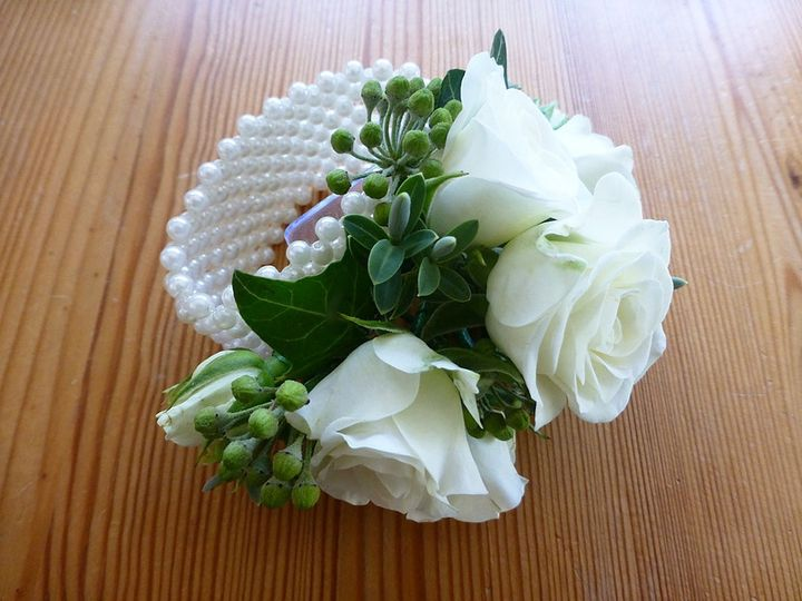 Wrist Corsage on Pearl Band