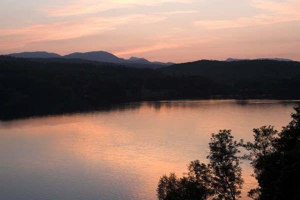 Sun set over lake windermere